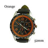 Geneva Platinum Mens Matching Stitch Black Dial Leather Band Chrono Watch - Orange