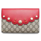 Gucci GG Supreme Moon Ebony Hibiscus Red Pouch Wallet Bag New Box Italy