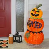 Northlight Seasonal Orange Jack-o-Lantern Pumpkin Halloween Decoration in Blue/Green/Orange, Size 38.0 H x 15.0 W x 16.0 D in | Wayfair H85313