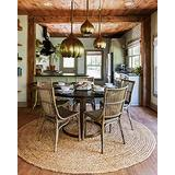 Natural Area Rugs - Round Jute Rug, Elsinore Collection, Hand Braided, Earth Friendly Natural Fiber Rug, Handmade & Reversible, Beige 5 ft
