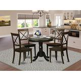 East West Furniture 5-Pc Kitchen Table and Chairs Set Included a Pedestal Kitchen Dining Table and 4 Wooden Dining Chairs - Solid Wood Dining Room Chairs Seat & X-back - Cappuccino Finish