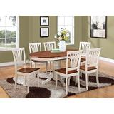 KEAV7-WHI-W 7 PC Dining set-Oval Dining Table with Leaf and Dining Chairs.