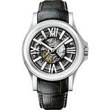 Bulova Accu Swiss Kirkwood Men's Automatic Watch with Black Dial Analogue Display and Black Leather Strap 63A122
