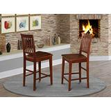 East West Furniture Vernon counter height chairs-Wooden Seat and Mahogany Solid wood Frame kitchen counter height chairs set of 2