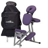 STRONGLITE Portable Massage Chair Ergo Pro II - Ultra-Strong, Lightweight, Folding Tattoo Spa Massage Chair with Wheels & Carry Case (600lbs Working Weight), Purple