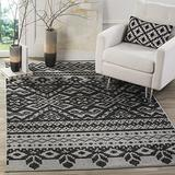 Safavieh Adirondack Collection ADR107A Rustic Boho Non-Shedding Stain Resistant Living Room Bedroom Area Rug, 8' x 8' Square, Silver / Black