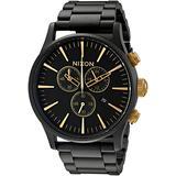 Nixon Sentry Chrono A3861041-00. Matte Black/ Gold Men's Watch (42mm Matte Black/Gold Watch Case. 23-20mm Matte Black Stainless Steel Band)