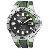 Citizen #BN0090-01E Men's Eco Drive Black PU Strap Suba Fin 200M Dive Watch