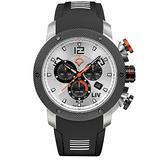 LIV Swiss Watches GX1 Swiss Panda Analog Display Chronograph Casual Watch for Men; 45 mm Black Rubber Strap with White Inserts; 660 feet Water-Resistant - Black with White Inserts