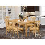East West Furniture Small Dining Table Set 7 Piece - Wooden Dining Room Chairs Seat - Oak Finish Wood Table and Structure