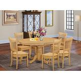 East West Furniture dining set 6 Great Wooden dining room chairs - A Beautiful mid-century dining table- Oak Color Wooden Seat Oak Butterfly Leaf kitchen table