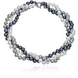 """Sterling Silver 8-8.5mm Twisted 3-rows Multi-colors Freshwater Cultured Pearl Strand, 18"""""""
