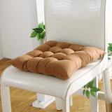 Ofit Set of 4 Soft Brush Microfiber Fully Quilted Dining Chair Cushion Pads 17x17 (Brown)