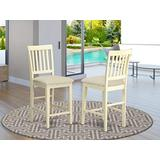 East-West Furniture VNS-WHI-C Vernon counter height bar Chairs - Linen Fabric Seat and Buttermilk Hardwood Structure kitchen counter Chairs set of 2