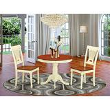 East West Furniture Modern Dining Table Set- 2 Amazing Dining Room Chairs - A Beautiful Wood Table- Wooden Seat- Cherry and Buttermilk Dining Room Table