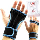Mava Sports Workout Gloves with Wrist Wraps Support and Full Palm Leather Padding. Perfect for Weight Lifting, Cross Training, Pull Ups, WOD and Powerlifting for Men and Women (Blue)