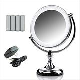 Ovente Lighted Makeup Mirror Tabletop 9.5 Inch 1X 10X Magnifier Dimmable 360 Degree Double Side Spinning LED Acrylic Edge Battery USB Powered Vanity Skin Care Circle Large Polished Chrome MGT95CH1X10X