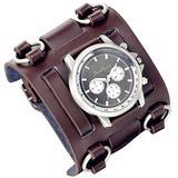 Lancardo Men's Watch Retro Steampunk Rock Black Big Wide Cuff Genuine Leather Bracelet Wristwatch with Japanese Quartz Movement 30M Waterproof