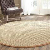 Safavieh Natural Fiber Collection NF114B Border Basketweave Seagrass Area Rug, 6' x 6' Round, Brown