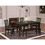 6-Pc Kitchen Table with bench-Dining Table and 4 Dining Chairs and Bench