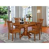 East West Furniture dining room table set 4 Amazing dining chairs - A Lovely mid-century dining table- Saddle Brown Color Wooden Seat Saddle Brown Butterfly Leaf modern dining table