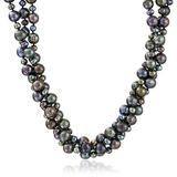 """Sterling Silver 4-8mm High Luster Twisted 3 Rows Black Cultured Freshwater Pearl Strand, 18"""""""