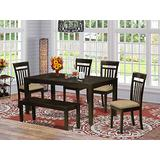 East West Furniture LYCA6-CAP-C 6-Piece Kitchen Table Set – Rectangular Top Kitchen Dining Table and Wooden Bench– 4 Dining Room Chairs Slatted Back and Linen Fabric Seat (Cappuccino Finish)
