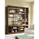 """Tommy Bahama Home Island Fusion Taipei Media 92"""" H x 80"""" W Library Bookcase Wood in Brown, Size 92.0 H x 80.0 W x 19.0 D in   Wayfair 01-0556-909c"""
