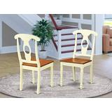 East West Furniture Napoleon-Styled dining chair set - Wooden Seat and Buttermilk Hardwood Frame dining room chair set of 2