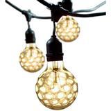 Bulbrite 860215 - 15 Light 48' Black (Medium Screw Base) Light String with Amber Marble Glazed 40 watt G25 Bulbs (STRING15/E26-40G25/MAR)