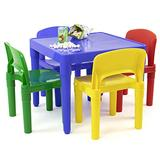 Humble Crew, Blue Primary Kids Lightweight Plastic Table & 4 Chairs Set, Square