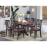 EAST WEST FURNITURE dinette table set- 6 Great wooden dining chairs - A Beautiful round dining table- Faux Leather seat, Cherry and Black Finnish Butterfly Leaf round wooden dining table
