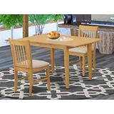 East West Furniture NOFK3-OAK-C 3-Piece Dining Set – 2 Dining Room Chairs and a Wooden Table - Rectangular Table Top – Slatted Back and Linen Fabric Seat (Oak Finish)