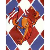 Caroline's Treasures Crawfish Patriotic USA 2-Sided Polyester 40 x 28 in. House Flag in Blue/Red, Size 40.0 H x 28.0 W in   Wayfair LD6164CHF