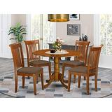 East West Furniture DLPO5-SBR-C 5-Piece round dining table set Saddle Brown finish- Two 9-inch Drops Leave and Pedestal Legs dinner table & 4 Slatted Back mid century dining chairs