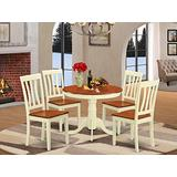 East West Furniture modern dining table set 4 Fantastic dining room chairs - A Beautiful modern dining table- cherry Color Wooden Seat cherry and buttermilk mid-century dining table