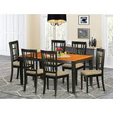 East West Furniture NICO7-BLK-C 7-Piece Dining Room Table Set, Black/Cherry Finish, Microfiber Upholstered Seat