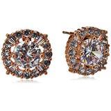 "Anne Klein ""Hey"" Rose Gold-Tone/Crystal Elevated Stud Earrings"
