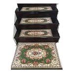 Acrylic Non-Slip Stair Runner Rug Stair Treads Carpet Door Mat Custom Size (Set of 2 Stair Runner-26x75cm,10x30 inch, Green)