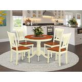 East West Furniture Wooden Dining Table Set- 4 Fantastic Dining Chairs - A Beautiful Dining Room Table- Wooden Seat- Cherry and Buttermilk Round Kitchen Table