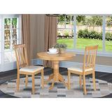 East-West Furniture modern dining table set- 2 excellent dining chairs - A Stunning pedestal dining table- PU Leather seat and Oak Finnish dining room table
