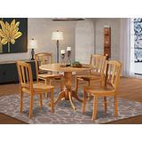 DLin5-OAK-W 5 Pc small Kitchen Table and Chairs set-round Table and 4 dinette Chairs Chairs