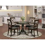 East-West Furniture Dining Table Set- 4 Excellent Dining Chairs - A Stunning Modern Dining Table- Faux Leather Seat and Cappuccino Finish Round Dining Table