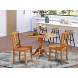 DLin3-OAK-W 3 Pc Kitchen Table set-Kitchen Dining nook and 2 dinette Chairs Chairs