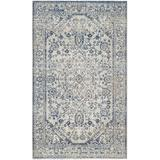 Darby Home Co Harwood Oriental Cotton Silver/Blue Area Rug Cotton in White, Size 60.0 H x 36.0 W x 0.06 D in | Wayfair DBHC1925 25587620