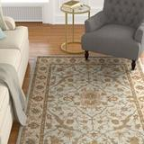 Darby Home Co Tressler Oriental Handmade Tufted Wool Light Blue/Ivory Area Rug Wool in White, Size 120.0 H x 96.0 W x 0.63 D in | Wayfair