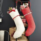 Audree Pom Pom Stocking Red - Ballard Designs