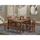 East West Furniture DUNO6D-MAH-C 6-Pc Dining Table Set Rectangular Dining Table and 4 Wood Dining Chairs Plus a Beautiful Bench - Linen Fabric Kitchen Chairs Seat & Slatted Back - Mahogany Finish