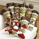 Personalized Christmas Stockings Green Chevron with Cheetah Ruffle - Ballard Designs