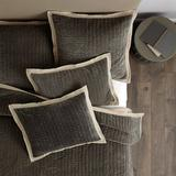 Lucca Velvet Stitched Quilt Olive King - Ballard Designs